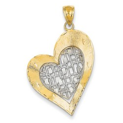 14k Two-tone Gold Diamond Cut Heart Pendant 30x23 mm 1.86 gr