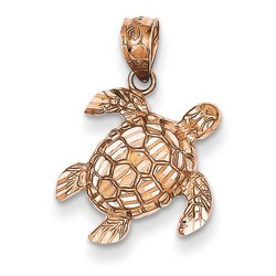 14k Rose Gold Diamond Cut Turtle Pendant 13x13 mm 0.71 gr *** Made in USA