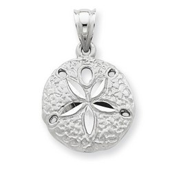 14k White Gold Sanddollar Charm 16x16 mm 1.99 gr *** Made in USA
