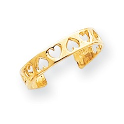 14k Yellow Gold Inversed Hearts Adjustable Toe Ring