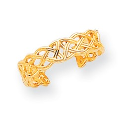 14k Yellow Gold Casted Celtic Knot Adjustable Toe Ring