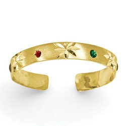 14k Yellow Gold Red And Green Enameled Adjustable Toe Ring With Flower