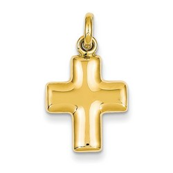 14k Yellow Gold 3-D Latin Cross Charm 15 x 13 mm