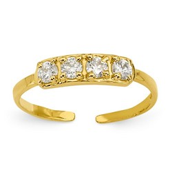 14k Yellow Gold Quad CZ Adjustable Toe Ring