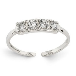 14k White Gold Quad CZ Adjustable Toe Ring