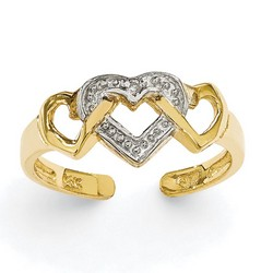 14k Yellow Gold Rhodium Diamond Heart Adjustable Toe Ring