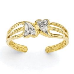 14k Yellow Gold Double Hearts And .02ct Diamonds Adjustable Toe Ring