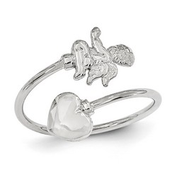 14k White Gold Cupid And Heart Adjustable Toe Ring