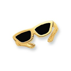 14k Yellow Gold Black Enameled Sunglasses Adjustable Toe Ring