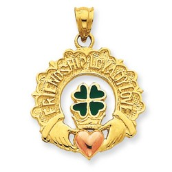 14k Two-tone Gold Enameled Claddagh Charm 23x23 mm 2.96 gr *** Made in USA