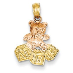 14k Two-tone Gold Teddy Bear ABC Blocks Pendant 16x16 mm 0.98 gr *** Made in USA