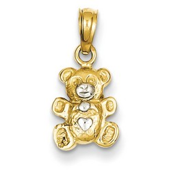 14k Two-tone Gold Teddy Bear Pendant 12x9 mm 0.63 gr *** Made in USA