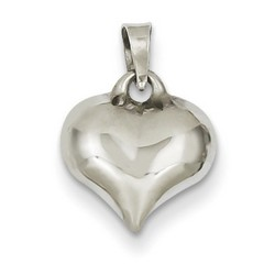 14k White Gold Puffed Heart 10x11 mm 0.43 gr