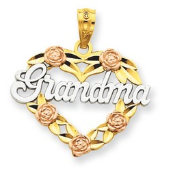 14k Two-tone Gold Grandma Heart Pendant 16x21 mm 1.14 gr *** Made in USA
