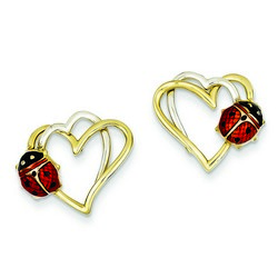 14k Two-tone Gold Enamel and Resin Ladybug 15x15 mm 2.27 gr