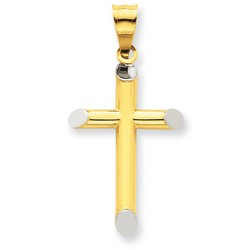 14k Two-Tone Gold 3-D Latin Cross Pendant 25 x 15 mm