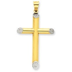14k Two-Tone Gold 3-D Latin Cross Pendant 38 x 25 mm