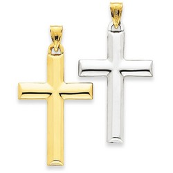 14k Two-Tone Gold Reversible Latin Cross Pendant 32 x 22 mm