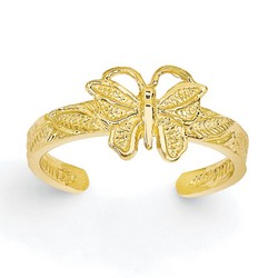 14k Yellow Gold Solid Butterfly Adjustable Toe Ring