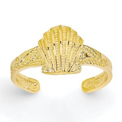 14k Yellow Gold Scallop Shell Adjustable Toe Ring