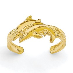 14k Yellow Gold Solid Twin Dolphins Adjustable Toe Ring