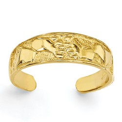 14k Yellow Gold Carved Look Footprints Adjustable Toe Ring On Dimpled Band