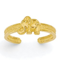 14k Yellow Gold Solid Elephant Adjustable Toe Ring