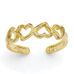 14k Yellow Gold Casted Open Hearts Adjustable Toe Ring