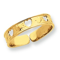 14k Yellow Gold Alternating Open And Solid Hearts Adjustable Toe Ring
