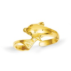 14k Yellow Gold Casted And Polished Adjustable Dolphin Toe Ring