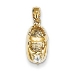 14k Yellow Gold 3-D April White Zircon Baby Shoe Charm 13x7 mm 1.89 gr