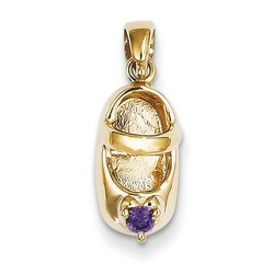 14k Yellow Gold 3-D February Amethyst Baby Shoe Charm 13x7 mm 1.97 gr