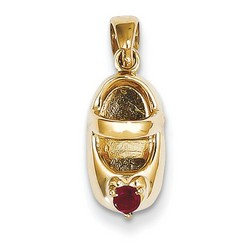 14k Yellow Gold 3-D January Garnet Engraveable Baby Shoe Charm 13x7 mm 1.89 gr