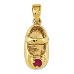 14k Yellow Gold 3-D July Ruby Engraveable Baby Shoe Charm 13x7 mm 1.82 gr