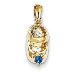 14k Yellow Gold 3-D September Sapphire Baby Shoe Charm 13x7 mm 1.74 gr