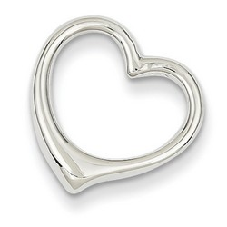 14k White Gold Polished Cut Out Heart Slide 15x15 mm 2.28 gr *** Made in USA