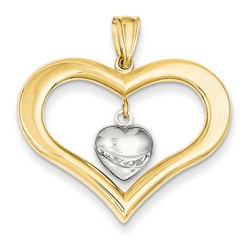 14k Two-tone Gold Diamond Cut Heart Pendant 24x30 mm 1.7 gr