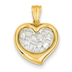 14k Two-tone Gold Polished Heart Pendant 15x16 mm 1.12 gr