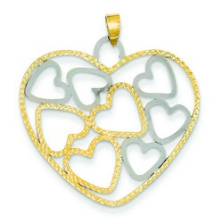 14k Two-tone Gold Open Heart Small Hearts Pendant 27x32 mm 1.4 gr