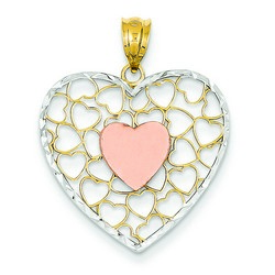 14k Two-tone Gold Diamond-cut Heart Pendant 22x24 mm 1.73 gr *** Made in USA