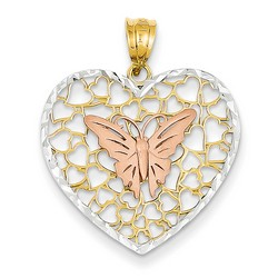 14k Two-tone Gold Butterfly Heart Pendant 22x24 mm 1.62 gr *** Made in USA