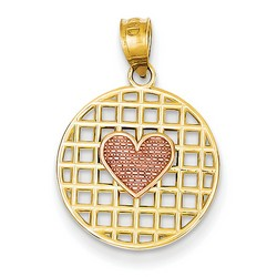 14k Two-tone Gold Heart on Heart Pendant 15x15 mm 1.42 gr *** Made in USA