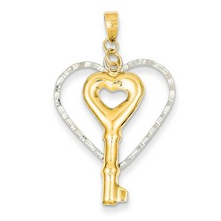 14k Two-tone Gold Diamond Cut Open Heart with Puff Key Pendant 30x23 mm 1.42 gr