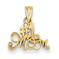 14k Yellow Gold #1 Mom Charm 10x15 mm 0.49 gr *** Made in USA