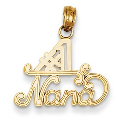 14k Yellow Gold #1 Nana Charm 13x17 mm 0.78 gr *** Made in USA