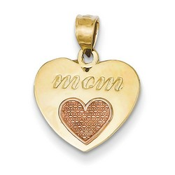 14k Two-tone Gold Heart on Heart Mom Pendant 12x14 mm 1.34 gr *** Made in USA