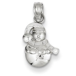 14k White Gold Satin Snowman Charm 12x8 mm 0.54 gr *** Made in USA