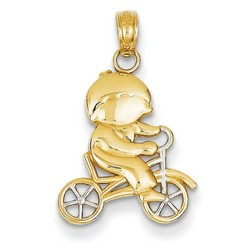 14k Yellow Gold 3-D Diamond Cut Boy Charm 17x15 mm 0.83 gr *** Made in USA