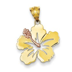 14k Two-tone Gold Hibiscus Flower Pendant 15x20 mm 1.6 gr *** Made in USA