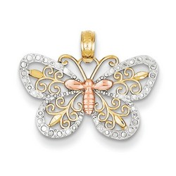 14k Tri-Color Gold Yellow &Rose gold Butterfly Pendant 12x20 mm 1.11 gr